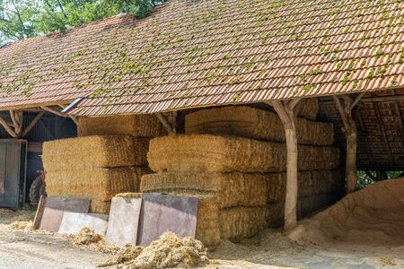 Dutch farmyard with stack of hay bales covered in open shed