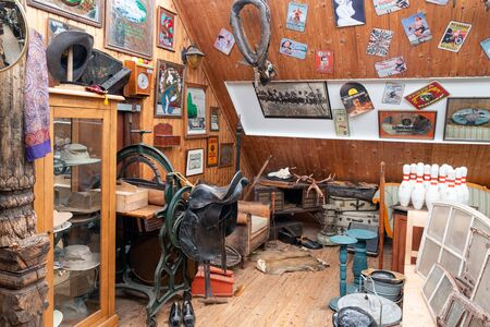 Weerselo, The Netherlands - August 16, 2019: Exposition of vintage furniture and garbage at Dutch flea market