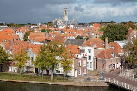 Aerial view at Dutch medieval city Middelburg