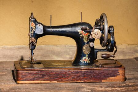 Ootmarsum, The Netherlands - August 18, 2019: Agricultural museum with old Singer sewing machine