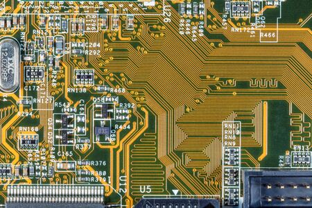 Electronic circuit and chips details at PC computer mainboard