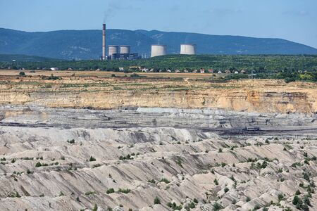 Power plant near brown coal open pit landscape near Matra mine Hungary, east of Budapest Stock Photo