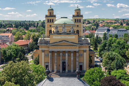 Facade Cathedral Basilica of St. John the Apostle also called Eger Cathedral in Eger, Hungary