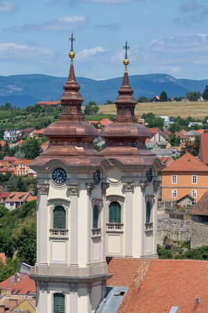 Aerial view Eger, Hungarian Country town with two towers of Minorite church