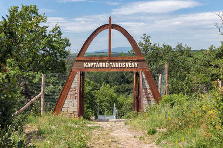 Szomolya , Hungary - July 07, 2019: Start hiking trail to beehive stones or beehive rocks near Szomolya, Hungary