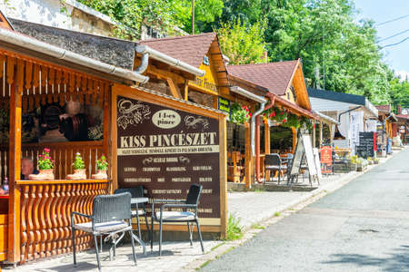Eger , Hungary - July 08, 2019: Restaurants in the Valley of the beautiful Woman with many wine cellars
