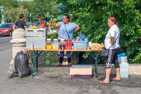 Budapest, Hungary - July 14, 2019: Street vendor with drinks and snacks near Heroes Square in Budapest