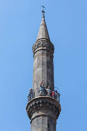 Eger , Hungary - July 08, 2019: Eger Minaret, build bij islamitic Turkish Ottoman in Hungary, Europe