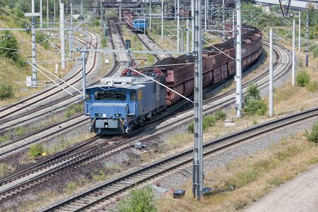 German train transporting brown coals from Hambach open pit mine to power plant