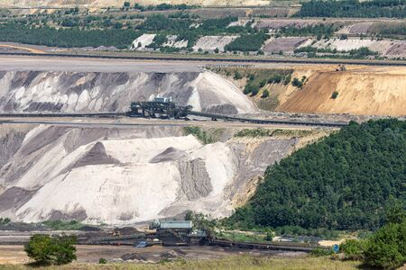 Brown coal open pit landscape with machinery conveyor belts in Garzweiler mine Germany