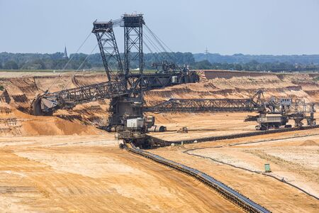 Brown coal open pit landscape with enormous digging excavator in Garzweiler mine Germany