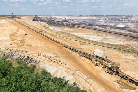 Brown coal open pit landscape with enormous digging excavators in Garzweiler mine Germany Stock Photo