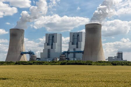 View at Coal-fired power plant near lignite mine garzweiler in Germany Stockfoto