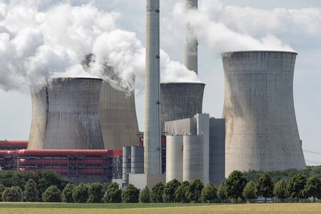 View at Coal-fired power plant near lignite mine garzweiler in Germany Stock Photo