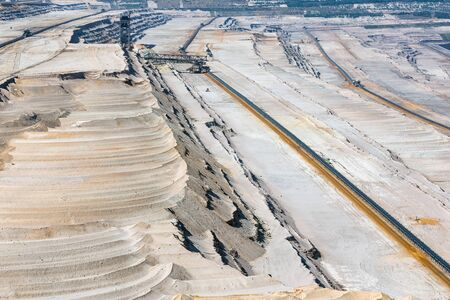 Wide open pit landscape by digging in Hambach mine Germany
