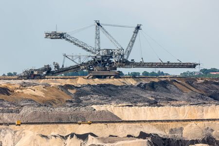 Brown coal open pit landscape with enormous digging machine in Garzweiler mine Germany