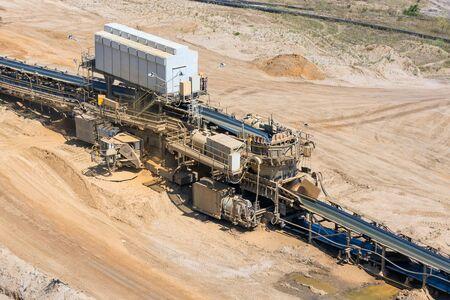 Brown coal open pit landscape with machinery conveyor belt in Garzweiler mine Germany