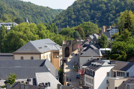 Luxembourg city, the capital of Grand Duchy of Luxembourg, aerial view of the Grund and Old Town with plate rooftops 免版税图像