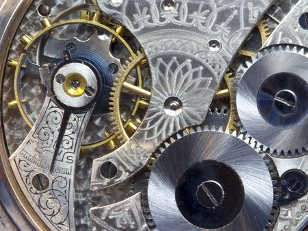 Antique pocket watch gears and works