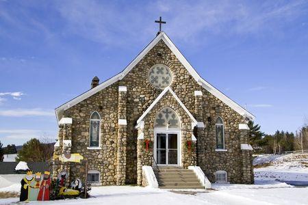 Oude stenen kerk in New Hampshire Kerst tijd