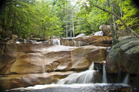 Watervallen, watervallen en poelen van Diana's Baths in de White Mountains van New Hampshire. Stockfoto