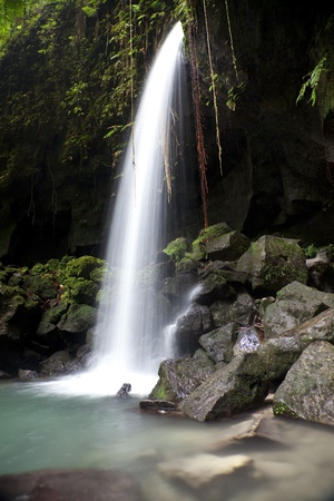 overhang: Waterfall and pool known as the Emerald Pool in Dominica.  View is from under a cave overhang rather than the better-known front view.