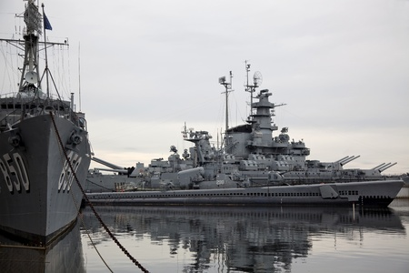 a battleship: Retired battleship USS Massachusetts at Battleship Cove in Fall River, Massachusetts.