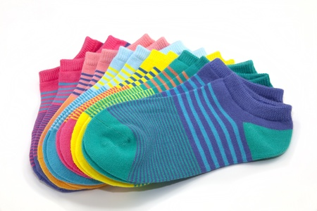socks: Fanned display of colorful, striped ankle socks Stock Photo