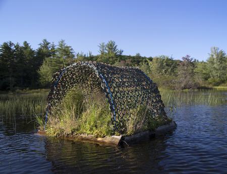 raft: Loon nesting raft on Squam River in Ashland, New Hampshire
