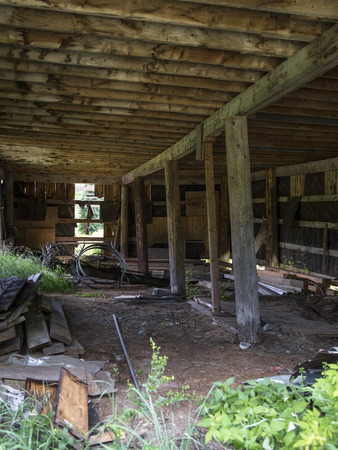 hampshire: Interior of an abandoned barn in New Hampshire