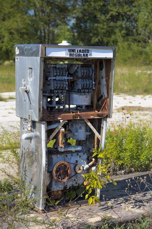 unleaded: remains of vintage gas pump, circa 1970s