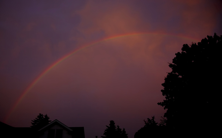 Levendige regenboog na regenworm als de zon zich bevindt