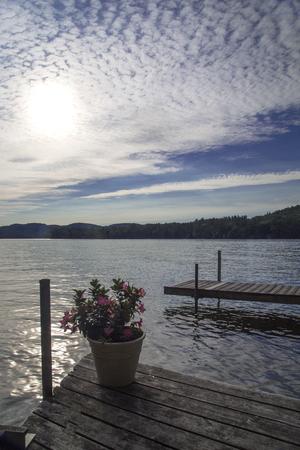 Dok met ingemaakte bloemen op het meer; cirrocumulus of popcorn wolken in blauwe hemel