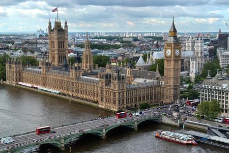 Huis van het parlement in Londen Uitzicht vanaf London Eye Stockfoto