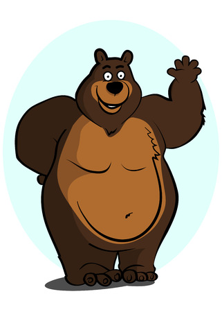 big waves: Big brown bear smiles and friendly waves a paw. Illustration