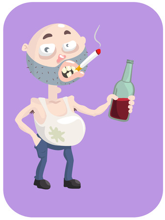 drunkard: Dirty drunk guy with a bottle of wine and a cigarette. Illustration