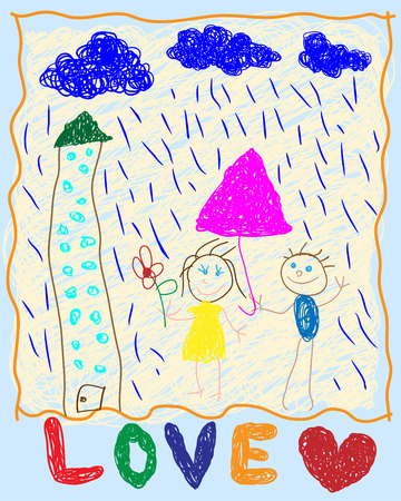 couple in rain: Picture of a young child. Loving couple in the rain. Illustration