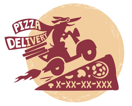 motor scooter: Funny dog on a motor scooter .Emblema quick delivery pizza.