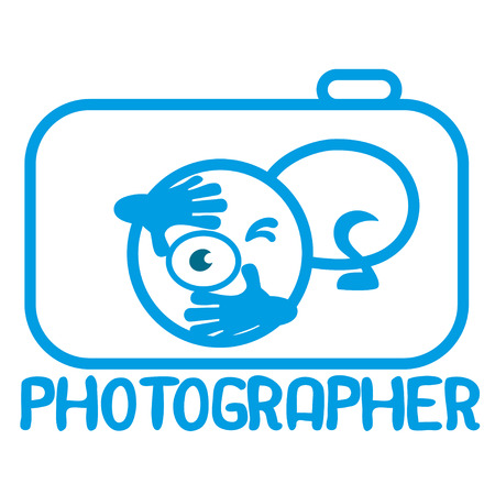 Blue  cartoon  photographer icon