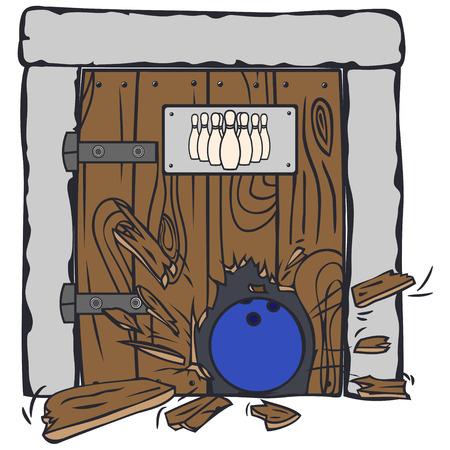 breaks: Emblema de los bolos. La pelota se rompe a trav�s de la enorme puerta con una foto de los bolos.