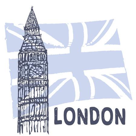 vectorrn: Sketch of Big Ben on the background of the British flag. Illustration