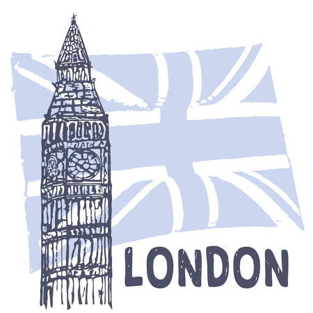 Sketch of Big Ben on the background of the British flag. Illustration