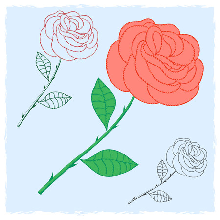 contour: Contour flower roses. Decor. Illustration
