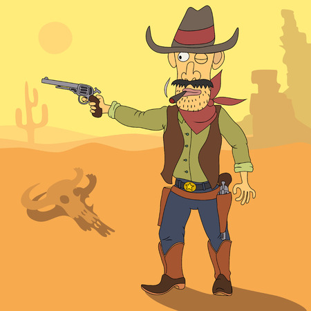 cowboy cartoon: Mexican desert. Cowboy takes aim with a pistol.