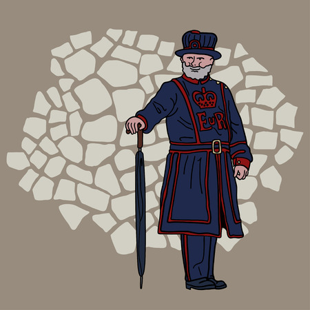 warder: Yeoman Warder at the Tower of London. Cartoon character.