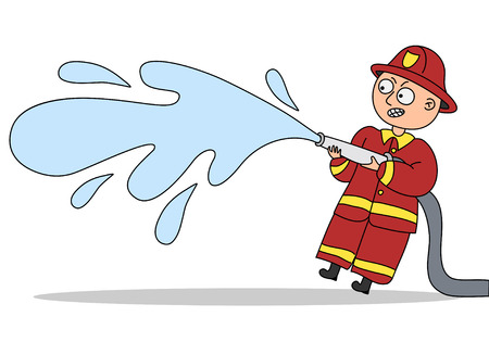 water hose: Small funny fireman with water hose. Illustration