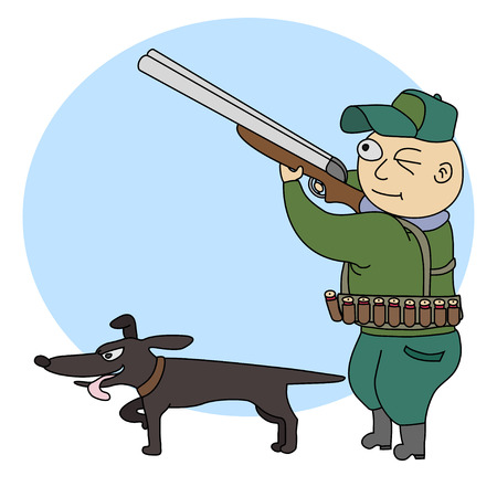 Illustration of funny hunter with a rifle and dog.