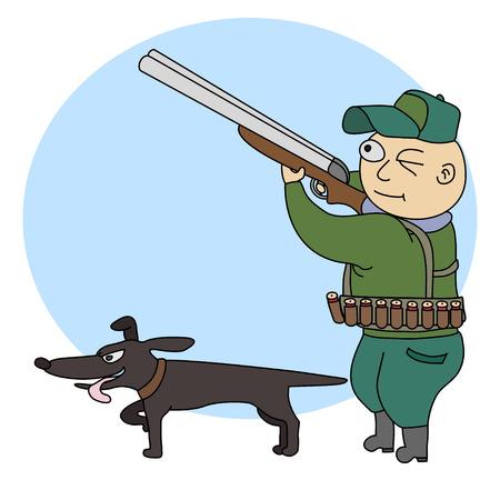 cazador: Ilustración del cazador divertido con un rifle y el perro. Vectores