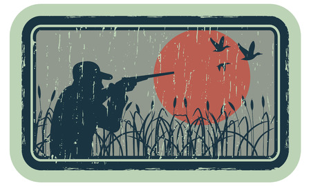 duck silhouette: Vintage emblem with the image of a hunter. Illustration