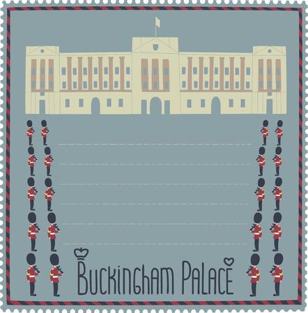 buckingham palace: Buckingham Palace.Cartoon image of the palace and the royal guards. Illustration